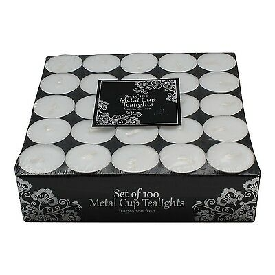 100 Tea Lights Set - White - Unscented Candles by Dynamic Collections NEW