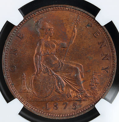 1875 UK Great Britain Penny KM# 755 NGC MS 64 RB