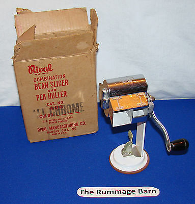 vintage RIVAL Combination BEAN SLICER & PEA HULLER #400  -- ALL CHROME --- BOXED