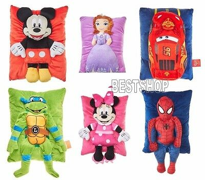 "NEW 3D KIDS DISNEY TRAVEL BUDDY PILLOW SOFT TO TOUCH 11"" x 15"" FREE SHIPPING"