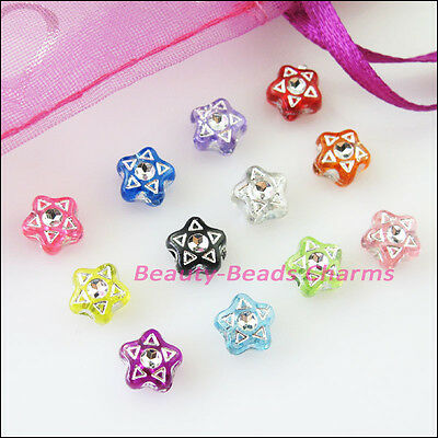 80Pcs Mixed Acrylic Plastic Five-pointed Star Spacer Beads Charms 7mm