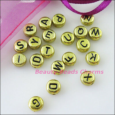 80Pcs Gold Acrylic Plastic Black Letters Spacer Beads Charms 7mm