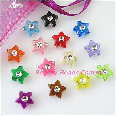 80Pcs Mixed Acrylic Plastic Five-pointed Star Spacer Beads Charms 9mm