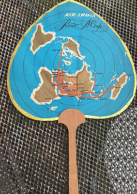 AIR INDIA: 1950s Route Map /  Fan Vintage