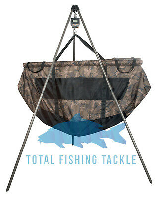 Fox NEW Fishing Weighing Tripod, STR Camo Floatation Sling + Digital Scales