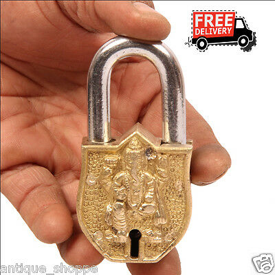 Unique Shape Handcarfted Brass Lord Ganesha Engraved 2 Key Padlock 6900A
