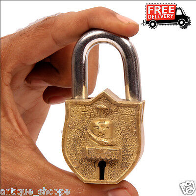 Brass Unique Handcrafted Shivlinga /shiva Engraved / Embossed 2Key Padlock 691A