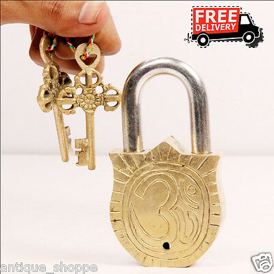 Brass Unique Handcrafted Goddess Durga Engraved / Embossed 2 Key Padlock 6906A