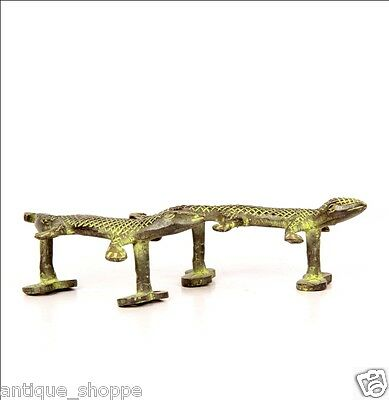 Vintage Antique Style Solid Brass Pair Of Lizard Door  Handles Pulls 62311