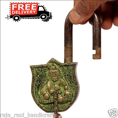 Brass Unique Handcrafted Lord Bal Gopal Engraved / Embossed 2 Key Padlock 6878A