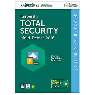 Kaspersky Total Security 2016 Multi Device 5 Devices, 1 Year FFP (PC DVD/Mac)