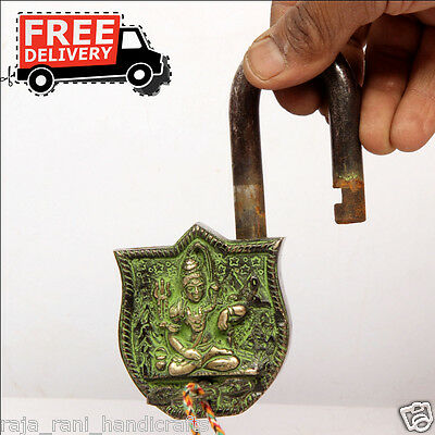 Brass Unique Handcrafted Lord Shiva Engraved / Embossed 2 Key Padlock 6884A