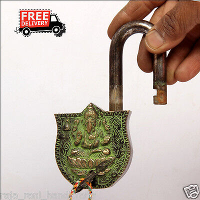 Brass Unique Handcrafted Lord Shiva Engraved / Embossed 2 Key Padlock 6882A