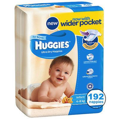 Huggies® Infant Nappies For Boys 4-8Kg 192 Ultra Dry Nappies