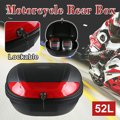 Lockable 52L Universal Motorcycle Rear Tail Box Scooter Storage Luggage 2 Keys