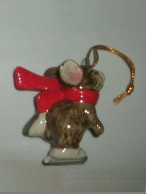 1990s Gibson Greetings Ceramic Skating Mouse Christmas Ornament MINT