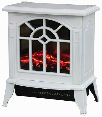 2KW White Log Burning Flame Effect 2000W Electric Fire Heater Fireplace Stove
