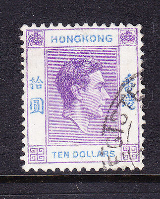 HONG KONG GVI 1946 SG162a $10 deep bright lilac & blue - fine used. Cat £75