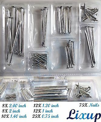 75X Round head Steel nails Mix Set heavy duty nail fence timber joist DIY wood