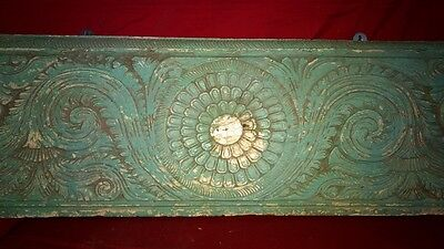Antique Hand Floral Carved Wall Hanging Wooden Panel Vintage Art Decor Plaque