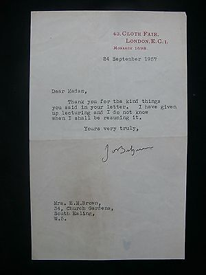 Sir John Betjeman 1957 Typed Letter Signed re Lecturing