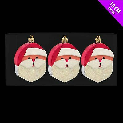 3 Santa Face Hanging Tree Decorations Father Christmas Party Decorations Bauble