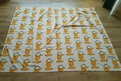 """Rare Vintage Garfield Curtain Fabric 100% cotton 1978 54"""" x 64"""" approx Made UK"""
