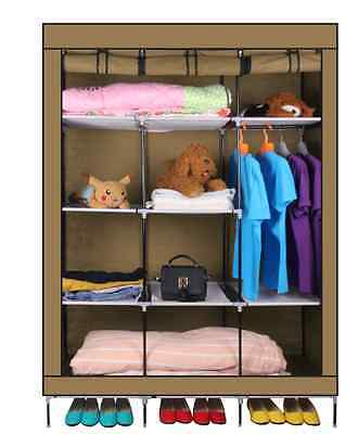Triple Canvas Clothes Wardrobe With Hanging Rail Side Pockets Shelves Storage