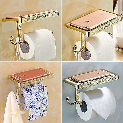Toilet Roll Paper Holder Phone Shelf Wall Mounted Bathroom Antique Rack Gold NEW