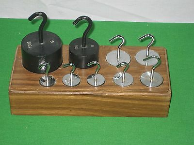 Set of Nine (9) Mass Calibration Hooked Stainless Steel Iron Enamel Weights