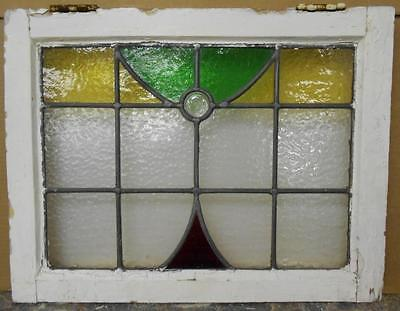 """OLD ENGLISH LEADED STAINED GLASS WINDOW Pretty Abstract 21"""" x 16"""""""
