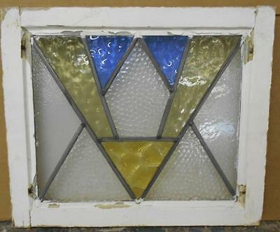 "OLD ENGLISH LEADED STAINED GLASS WINDOW Nice Art Deco Design 20"" x 16.75"""