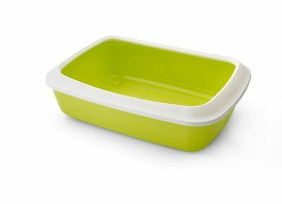 Nobby Isis Cat Litter Tray with Rim, 42 cm, White/ Lime Green
