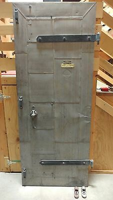 Vintage Metal Clad Fire Door 32x79 - c1945 - Sandblasted Industrial Rolling Door