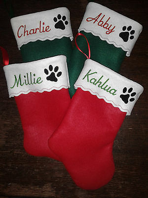 """15"""" Embroidered  Personalized Pet Christmas Stocking - Cat"""