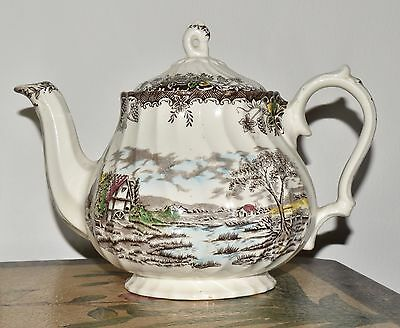 Vtg Staffordshire Ware MYOTT - The BROOK-  England English Countryside TeaPot