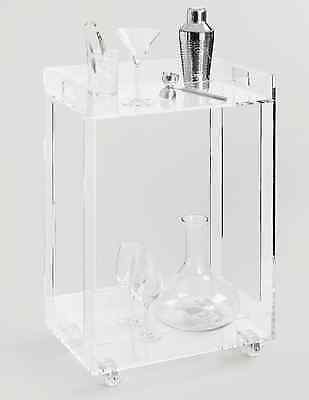 Retro Lucite Rolling Clear Acrylic Bar Cart Kitchen Serving Utility  Beverage