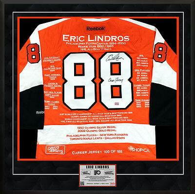 Eric Lindros Framed Career Jersey - Signed - Ltd Ed 188 - Philadelphia Flyers