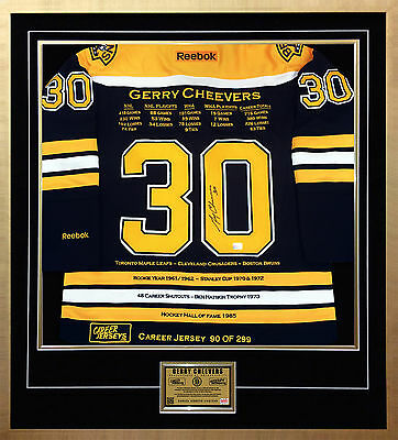 Gerry Cheevers Framed Career Jersey - Autographed - Ltd Ed 299 - Boston Bruins
