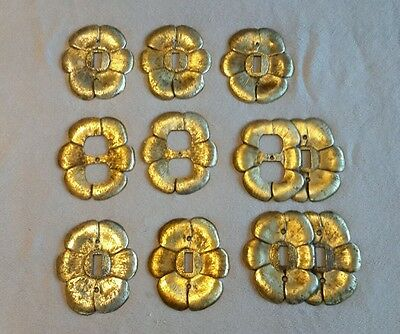 Vintage Hanna Metal 9 Light Switch Cover Plate Flowers Gold Finish