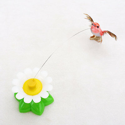 Pet Electric Rotating Bird Flower Cat Teaser Steel Wire Interactive Toys