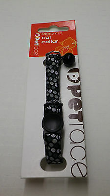 Petface Black Silver Dots Safety-Clip Cat Collar with Bell FREEPOST