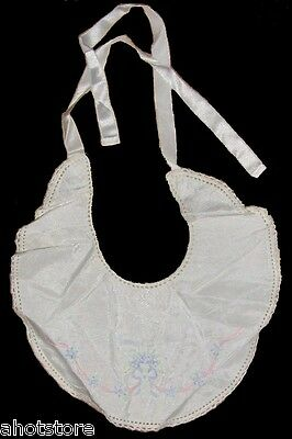 Antique Baby Bib Hand Made In England Vintage Embroidered Satin 1940's Vintage