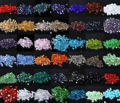Wholesale Bicone Faceted Rondelle Glass Crystal Charms Loose Jewelry Bead 4MM