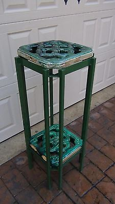 PAIR ANTIQUE 19c CHINESE LARGE BREEZEWAY TILES WITH STEEL 2 SHELVE TABLE, STAND