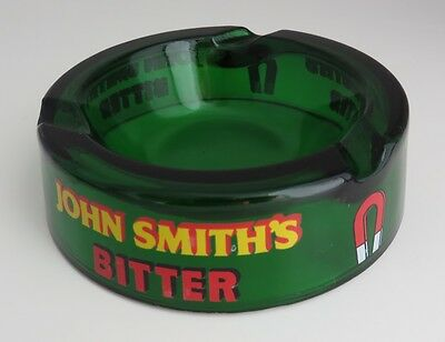 Vintage John Smith's Bitter 5 1/2 Inches Green Glass Ashtray   (Inv1442)