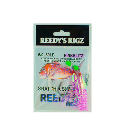 10 Snapper Snatcher Rigs 6/0 Hook Charter W.A Fishing Rig 80lb Tied Flasher Bait