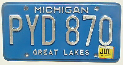 Michigan 2002 1993 Vintage License Plate Garage Old Car Tag Great Lakes Blue PYD