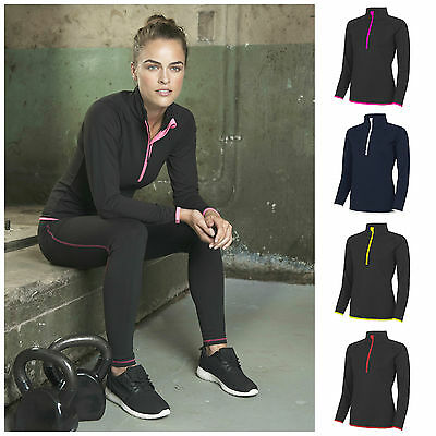 Womens Ladies Half Zip Long Sleeve Running Training Sports Gym Top T Shirt 8–16