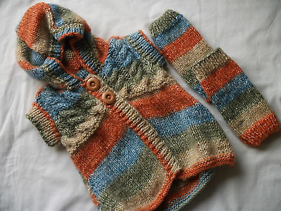 Hand-knitted Childs Hooded Top with Wrist/Ankle Warmers Ref 844